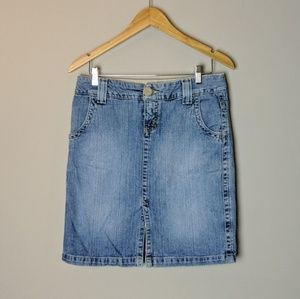 Hydraulic Medium Wash Jean Skirt sz 7/8